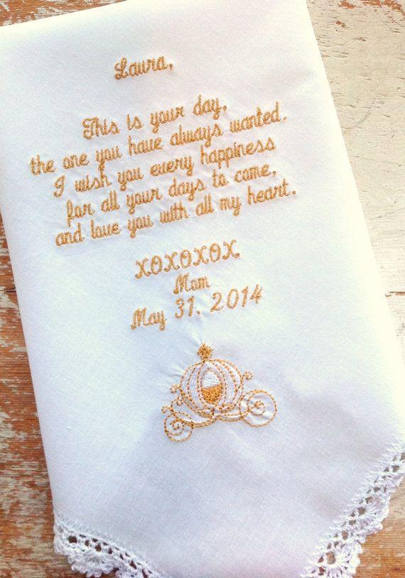 Embroidered Wedding Handkerchief Monogrammed Custom Bride Mom Dad Cinderella Coach Heirloom Personalized Hankie Gift Embroidery