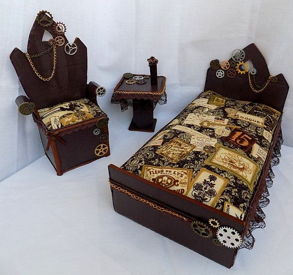 Steampunk vintage bedroom Doll furniture pro by DollsThell