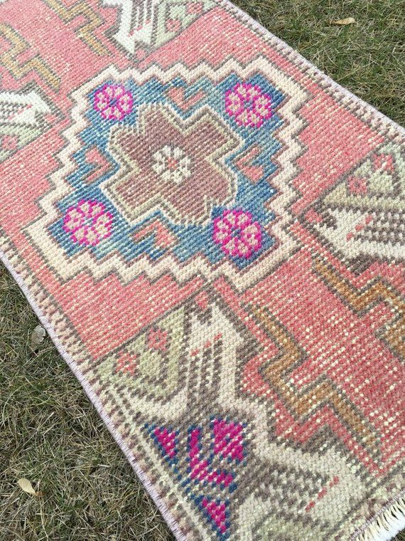 Small Lovely Vintage Turkish Bathroom Rug Distressed Low Pile 1 6 X2