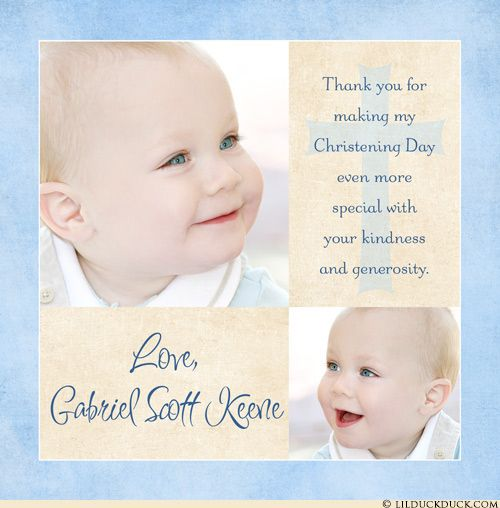 Blue & Ivory 2 Photo Christening Thank You Cards