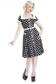 Women's Dahlia Dot Flair Dress - Black / White on rebelcircus