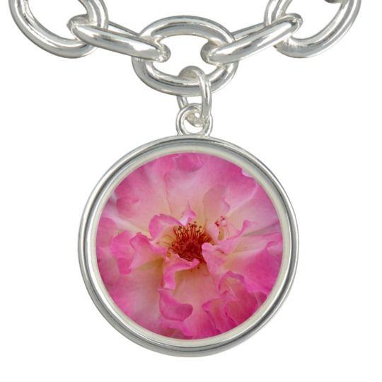Pink Rose Silver Plated Charm Bracelet by www.zazzle.com/htgraphicdesigner* #zazzle #gift #giftidea #pink #rose #bracelet