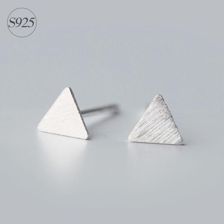boho 925 sterling silver triangle stud earrings simple pyramid geometric earrings minimalist earring female boucles d'oreilles