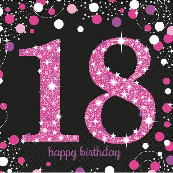 Poze 16 Servetele Majorat 18 ani Sparkling Celebrations pink