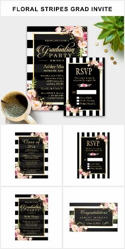A Vintage Floral Black White Stripes Graduation Invitation Suite, with items from invitation to RSVP card, Thank You Card, Party Banner, Stickers, Address Label, and more.