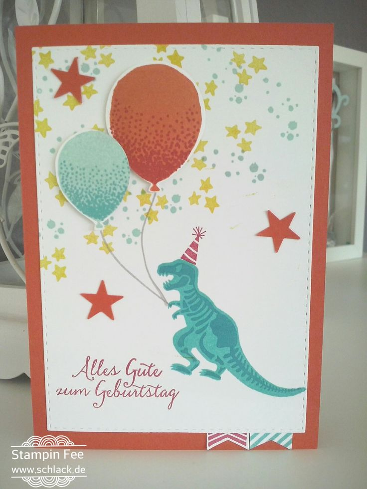stampin birthday no bones about it T-Rex dino Dinosaurier With PARTYBALLONS Geburtstag Ballons Balloon Celebration