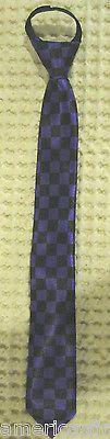 """Teens Kids Purple Black Checkers Adjustable 14"""" Zipper Up Pre-tied Necktie-New!"""