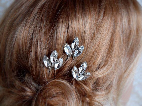 Horquilla novia, horquilla de Miss Maria de diamantes de imitación, juego de 3 #184