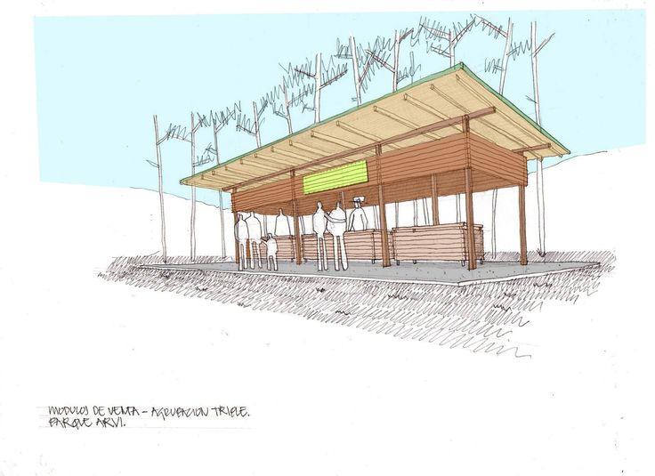 Mobiliario Urbano para el Parque Arvi / Escala Urbana Arquitectura,Croquis módulo ventas colectivo