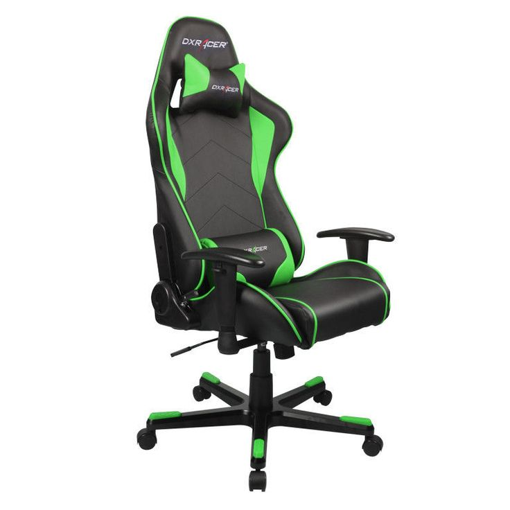 Good DXRacer Formula Series Newedge Edition Racing Bucket Seat Office Chair  Gaming Chair Ergonomic Computer Chair (Black/Green) With Pillows