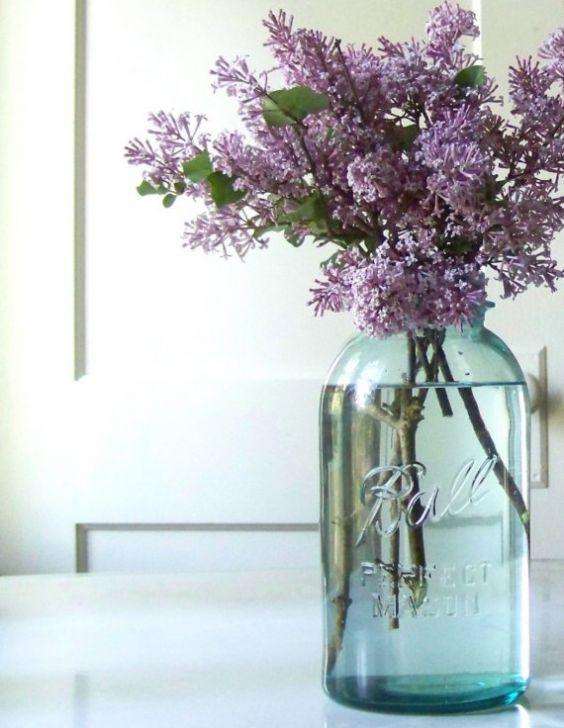 Ball jar and lilacs