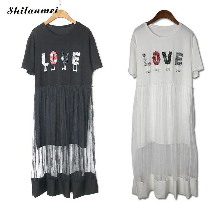 Women t shirt dress 2017 Summer Korean Splicing Pleated Tulle Women dress plastic pearl letter causal china clothing vestidos #Affiliate