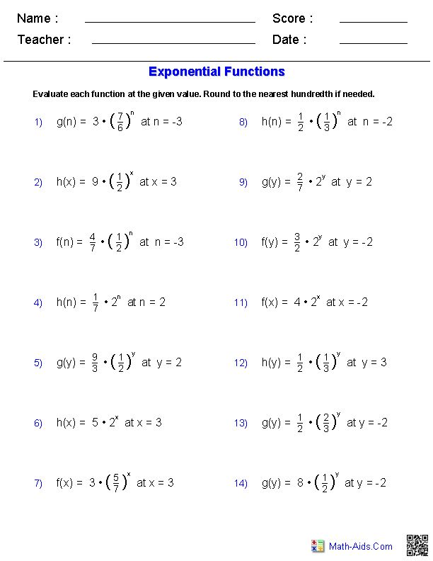 Evaluating Exponents Functions Worksheets Math Aids Com