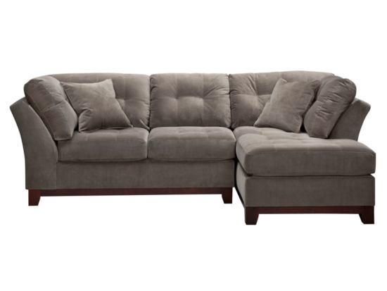solace grey 2 pc sectional with chaise american. Black Bedroom Furniture Sets. Home Design Ideas