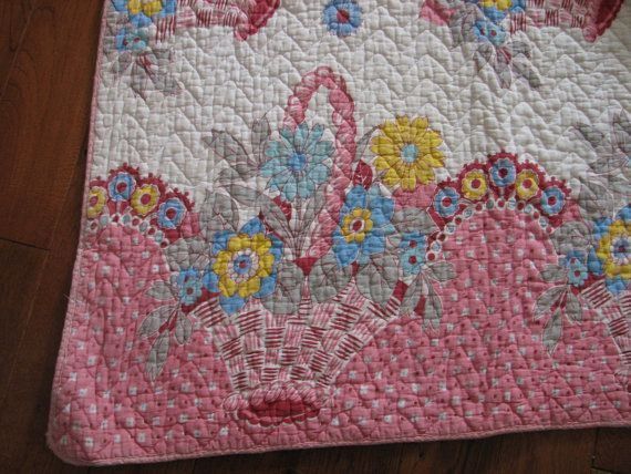 Vintage Coverlet Basket Cotton Blanket Floral by StillPrettyCool