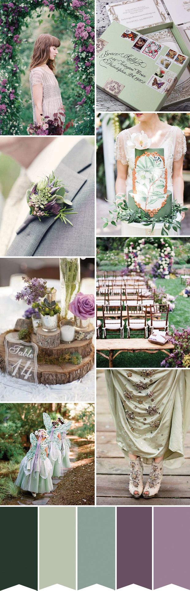 A fairytale grean and purple wedding inspiration palette | www.onefabday.com