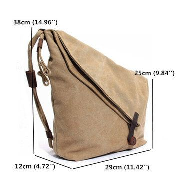Ekphero Women Vintage Messenger Bag Genuine Leather Canvas Crossbody Bag Tribal Rucksack