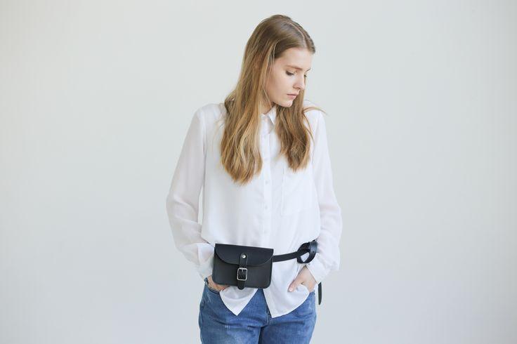 Leather Belt Bag (Black) - NOSKA SHOP #noskashop #LeatherCollection #handmadeinpoland #beltbag #vegetabletanned #natural