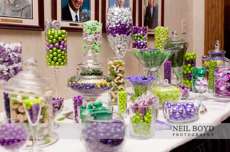 Purple and green wedding candy bar for wedding favors at wedding receptions.  Raleigh weddings.