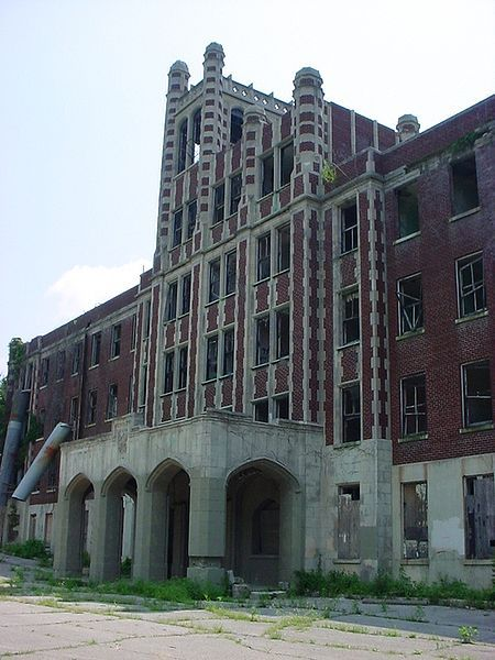 """Waverly Hills Sanatorium"" -- [4400 Paralee Drive  Louisville, Kentucky. Built by architects James J. Gaffney (1863–1946) & Dennix Xavier Murphy (1854–1933). Opened in 1910 as a two-story hospital to accommodate 40 to 50 tuberculosis patients. The hospital closed in June 1961, due to the antibiotic drug streptomycin that lowered the need for such a hospital.]~[Photograph by Kris Arnold]'h4d-90.2012'"