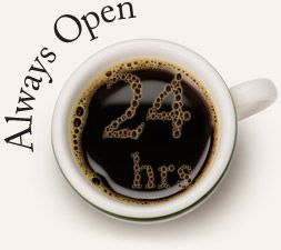 Bennue - Open 24 hours  This is a great place to study and grab an espresso or snack  There flavored espressos are my favorite and so are the eccentric study niches,r couches and coffee tables    There is also a patio to enjoy and smoking is welcome.
