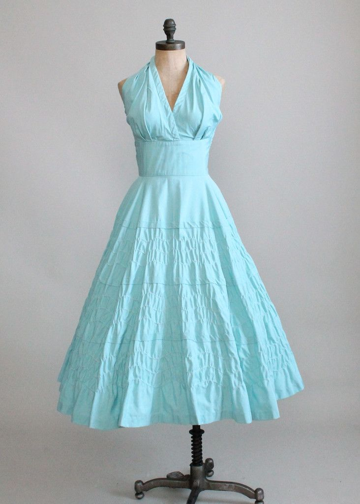 Vintage 1950s Pale Blue Halter Sundress