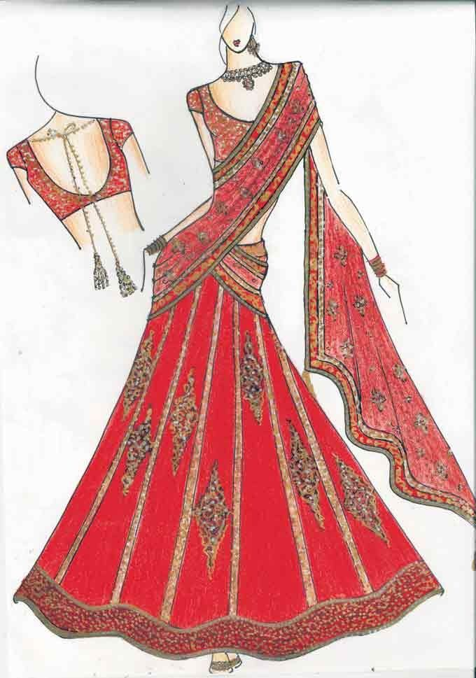 indian fashion sketch indian amp western outfits