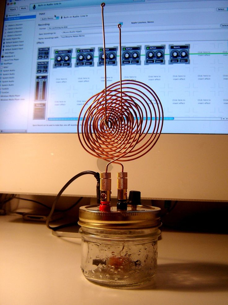 """Tesla's Spirit Radio uses a simple crystal radio circuit connected to a computer sound-in jack to generate spooky sounds from all kinds of electromagnetic sources""""My first observations positively terrified me as there was present in them something mysterious, not to say supernatural, and I was alone in my laboratory at night."""" - Nikola Tesla 1901"""