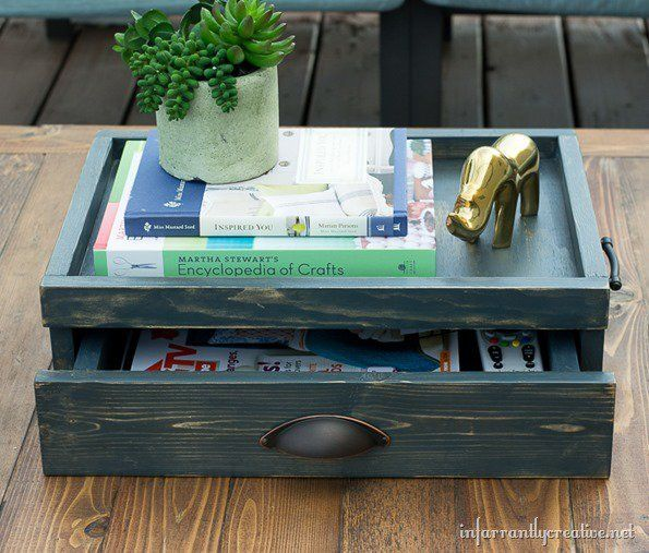 Build your own coffee table tray with drawer out of wood. Display the pretty stuff on top and conceal the not-so-pretty stuff in the drawer!