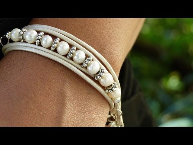 Panda Hall presents how to make a leather wrap bracelet. Make this on trend jewelry accessory! Find supplies at  ...  Supplies -Leather Cord -Beads or Pearls -Cord Ends -Jump rings -Magnetic clasp -Beading/Tiger Wire -Scis. How, Bracelet, Make, Wrap,