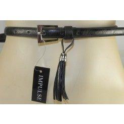 Impulse narrow black belt with tassel & silver buckle