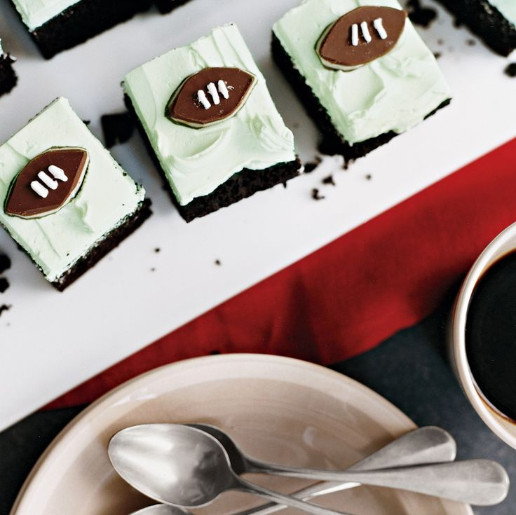 Cleverly cut mints and a thick layer of buttercream embellish this chocolate cake that's perfect for any Sunday football viewing party.