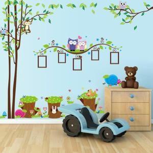Stickers muraux Enfant Arbre singe Hiboux et écureuil avec la branche de cadres