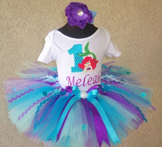 Ariel Little Mermaid Girls Personalized Birthday Tutu Outfit - possible idea for Emma.