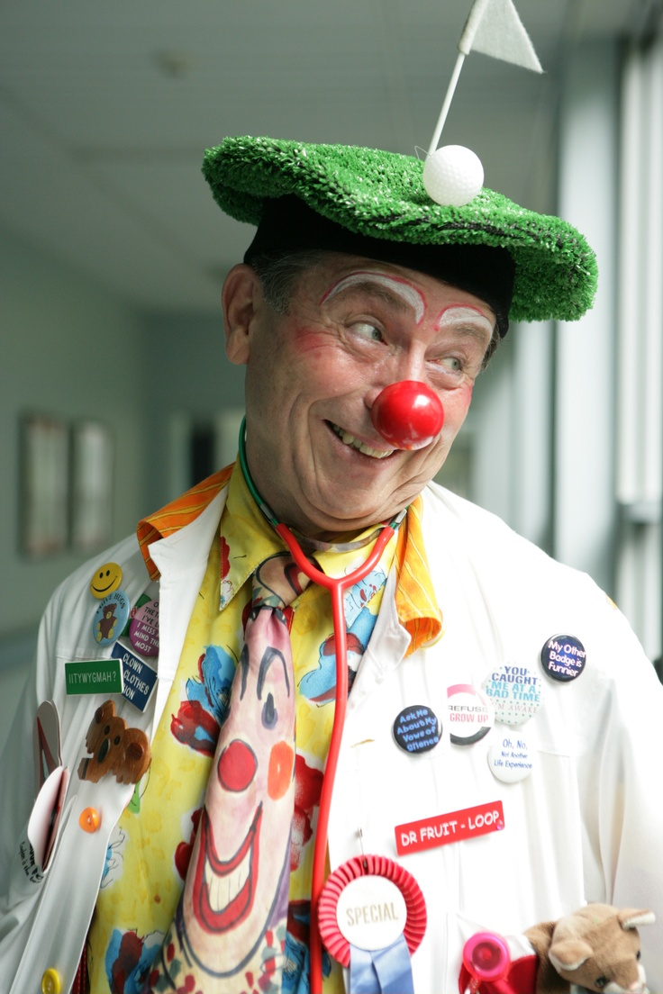 Clown Doctors of Sydney Australia, Dr Peter Spitzer( Dr Fruit Loops) They visit sick children in Hospital. He is my GP