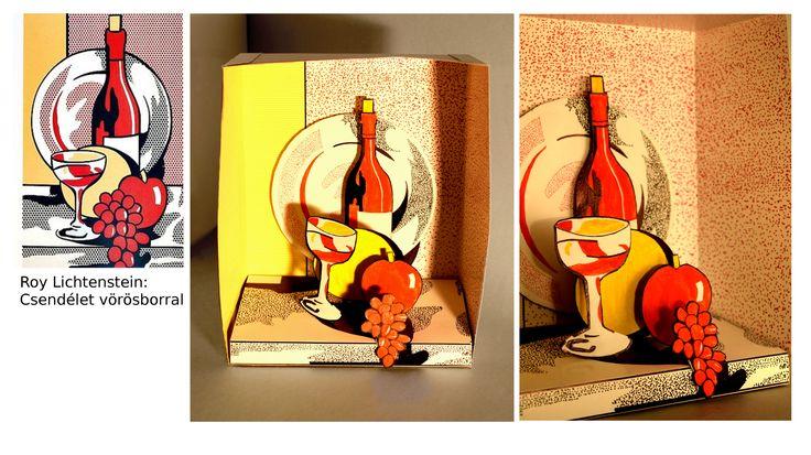 Győri Katalin, dioráma Roy Lichtenstein Csendélet vörösborral c. képe alapján. /  Győri Katalin, diorama - after Roy Lichtenstein
