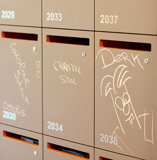workplace lockers you can write on. Cool feature to allow folks to leave you a message and find your space.  :)