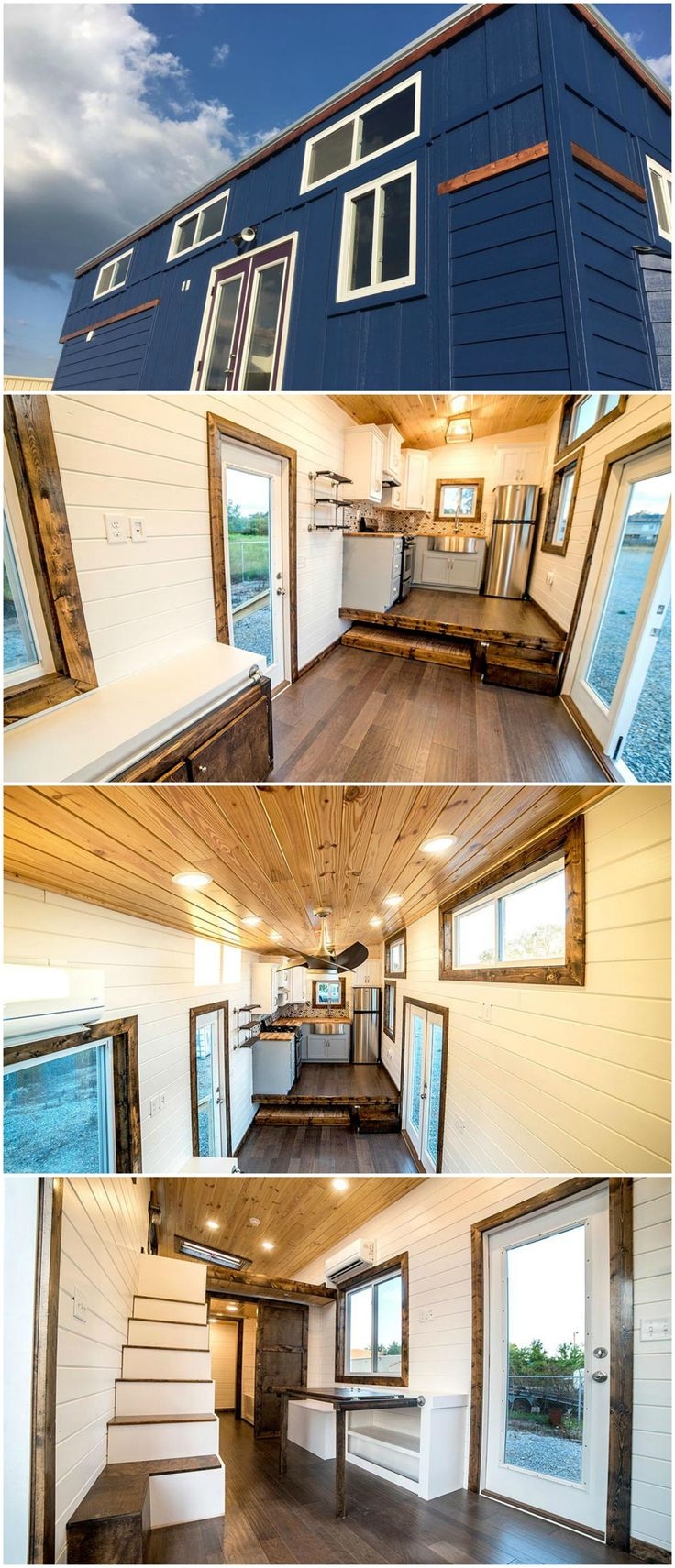 Blue Moon is a gorgeous tiny house designed by Harmony Tiny Homes. The 32′ tiny home features a queen size trundle platform that pulls out from under the elevated kitchen floor. The trundle bed can be pulled out part way to be used as a sofa.  The tiny house consists of dark blue siding, white window frames, and a few stained wood accent pieces. Full light french doors lead into the house and there is a full light rear door as well.