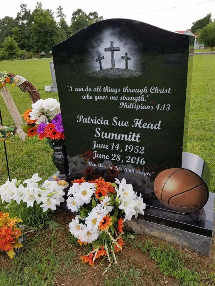 Pat Summitt - Hall of Fame College Basketball Coach. Born Patricia Sue Head, from 1974 to 2012, she coached the University of Tennessee women's Lady Vols to eight national championships in her 38 seasons and notched 1,098 career victories, more than any other Division I basketball coach. She was the first NCAA coach, and one of four college coaches overall, to achieve at least 1,000 wins and was named NCAA coach of the year seven times.