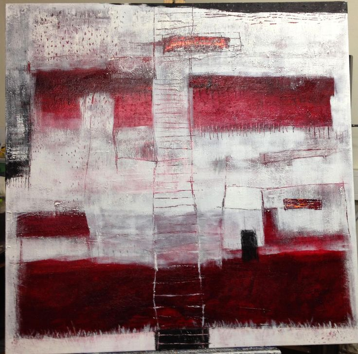 House in Red in White 100x100 (sold)