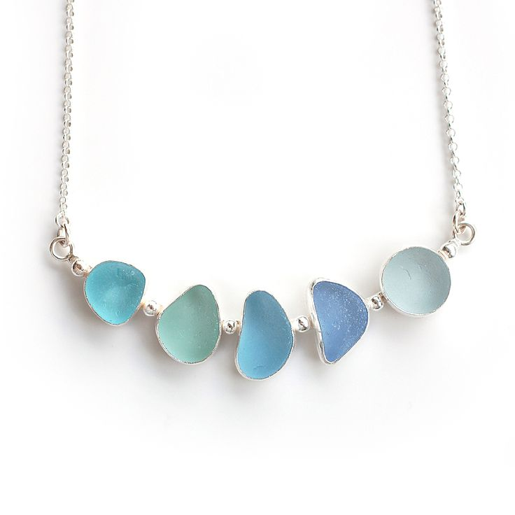 Pale blue sea glass bar necklace by Tania Covo