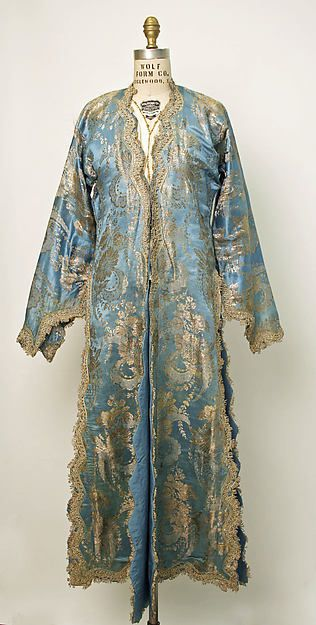 Blue and gold silk ensemble, Turkish, 20th century