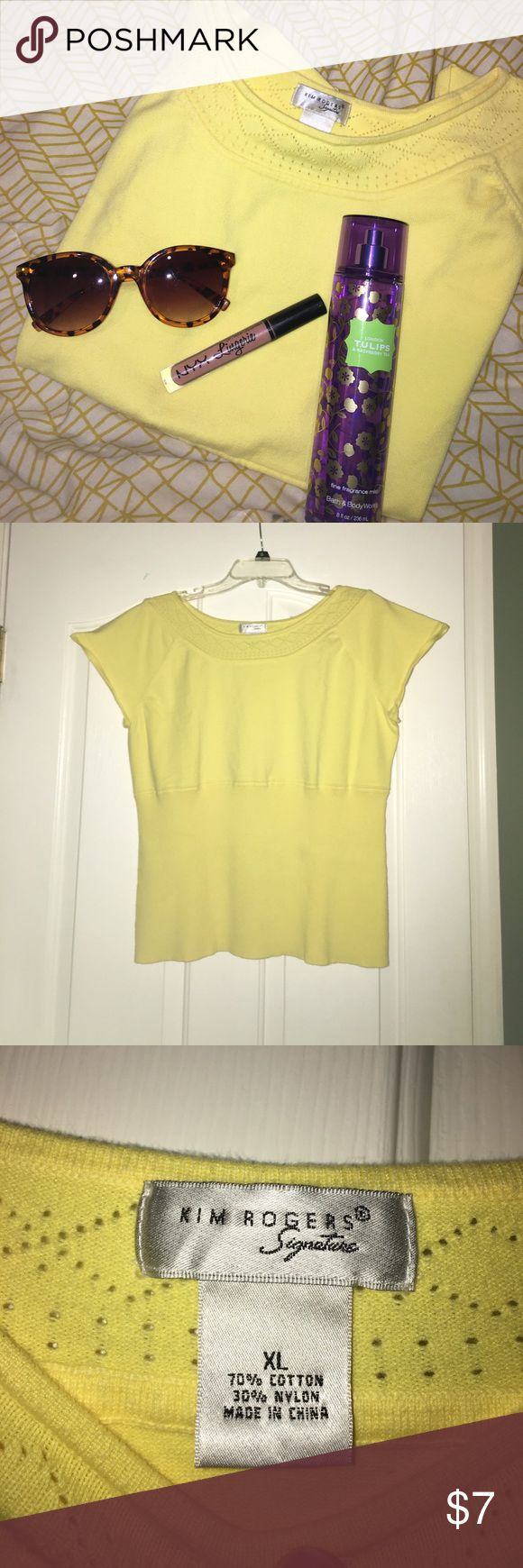 Kim Rogers Signature XL Yellow Short Sleeve Top This is a listing for a Kim Rogers Signature XL Yellow Short Sleeve Summer Top! This top has never been worn, so it's practically in perfect condition! This top comes from a non-smoking household. This top would be perfect for that upcoming family vacation! $7 Kim Rogers Tops Tees - Short Sleeve