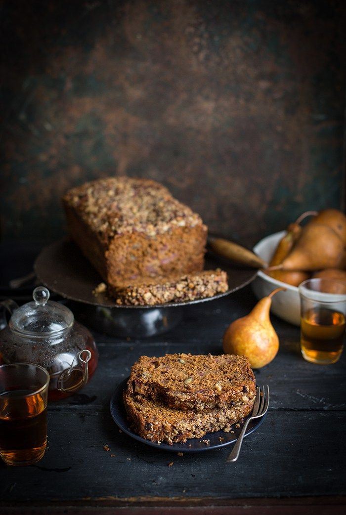 Pear and halva crumble loaf with pecans, honey & maple - adapted from Donna Hay
