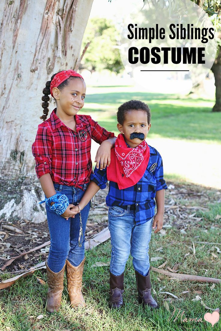 simple siblings costumes diy halloween western wear - Simple Toddler Halloween Costumes