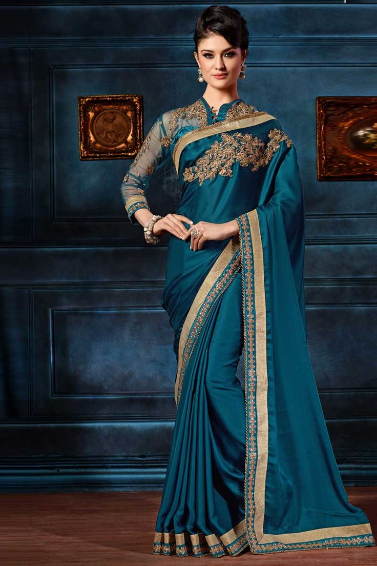 Blue Crepe Saree With Silk Blouse Embellished with embroidered, zari and stone. Saree comes with asymmetrical neck blouse. Product are available in 34,36,38,40 sizes. It is perfect for casual wear, festival wear, party wear and wedding wear. Andaaz Fashion is the most popular designer wear online ethnic shop http://www.andaazfashion.co.uk/womens/sarees/blue-crepe-saree-with-silk-blouse-dmv8450.html