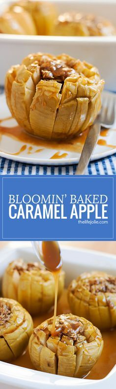 This Bloomin' Baked Caramel Apples recipe is the perfect fall dessert! They're quick and easy to make and deliciously sweet!