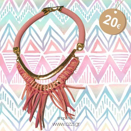 Κολιέ ροζ από δέρμα με κρόσια   #kolie #necklace #jewellery #kosmimata #ozzi_jewellery