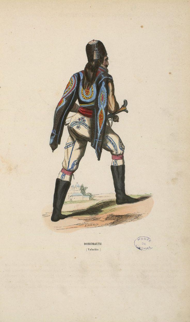 """Auguste Wahlen - Dorobant (infantry man) from """"Illustrations de Moeurs, usages et costumes de tous les peuples du monde"""", 1843. In reality the picture show an Arnaut (albanian mercenary)."""