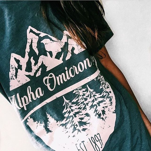 Alpha Omicron Pi | AOII | Mountain Design | Vintage T-Shirt Design | Script Design | Outdoor Inspired | Outfit Inspiration | South by Sea | Greek Tee Shirts | Greek Tank Tops | Custom Apparel Design | Custom Greek Apparel | Sorority Tee Shirts | Sorority Tanks | Sorority Shirt Designs